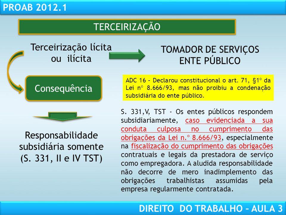 RESPONSABILIDADE CIVIL AULA 1 PROAB 2012.1 DIREITO DO TRABALHO – AULA 3 TERCEIRIZAÇÃO Terceirização lícita ou ilícita Consequência Responsabilidade su