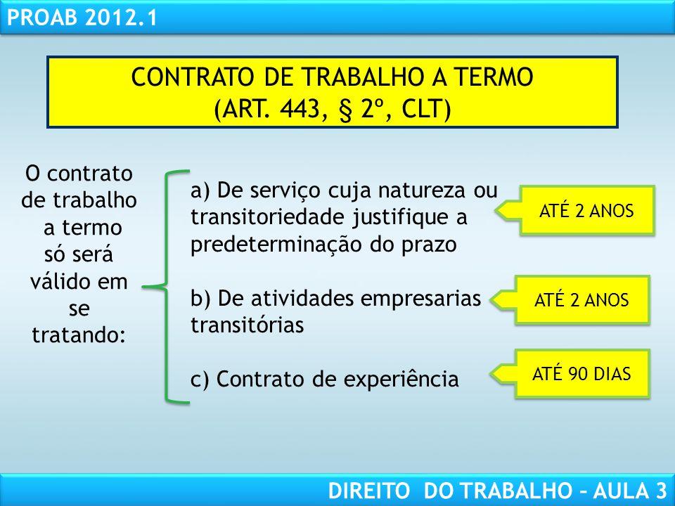 RESPONSABILIDADE CIVIL AULA 1 PROAB 2012.1 DIREITO DO TRABALHO – AULA 3 CONTRATO DE TRABALHO A TERMO (ART. 443, § 2º, CLT) O contrato de trabalho a te