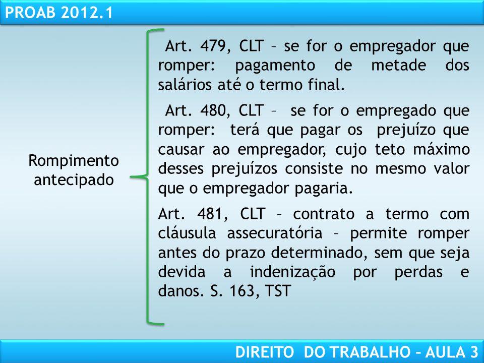 RESPONSABILIDADE CIVIL AULA 1 PROAB 2012.1 DIREITO DO TRABALHO – AULA 3 Rompimento antecipado Art. 479, CLT – se for o empregador que romper: pagament