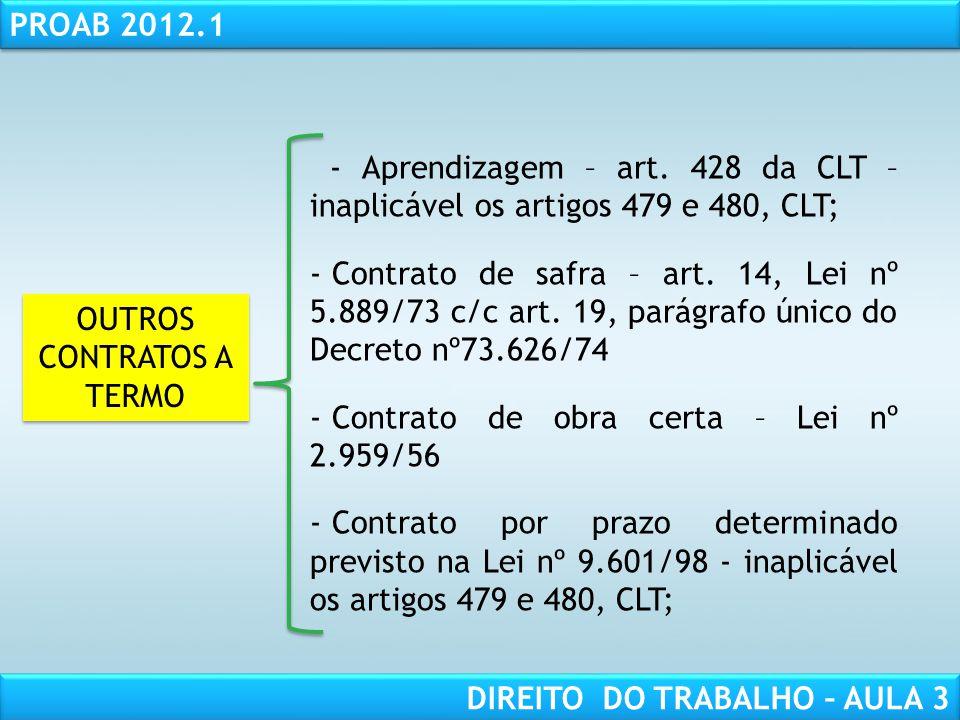 RESPONSABILIDADE CIVIL AULA 1 PROAB 2012.1 DIREITO DO TRABALHO – AULA 3 OUTROS CONTRATOS A TERMO - Aprendizagem – art. 428 da CLT – inaplicável os art