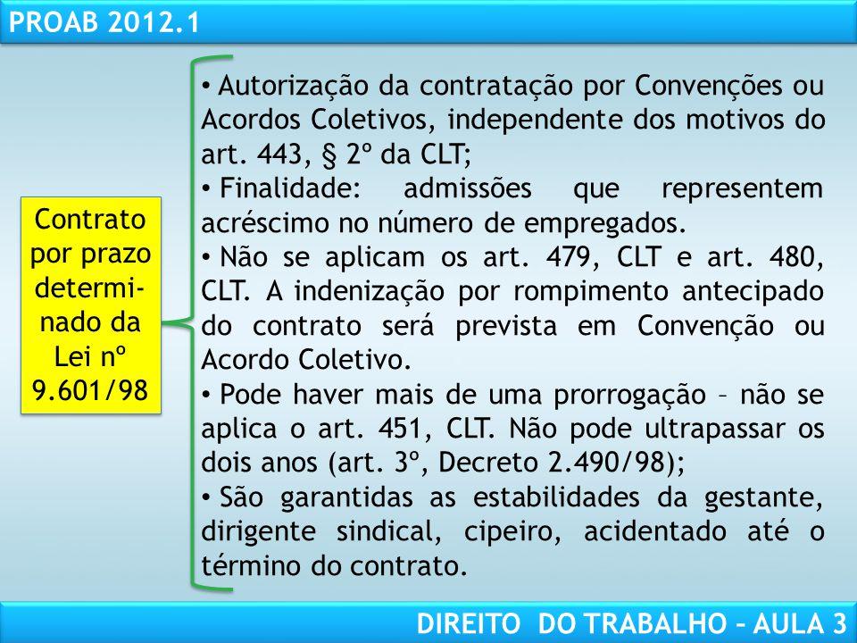 RESPONSABILIDADE CIVIL AULA 1 PROAB 2012.1 DIREITO DO TRABALHO – AULA 3 Autorização da contratação por Convenções ou Acordos Coletivos, independente d