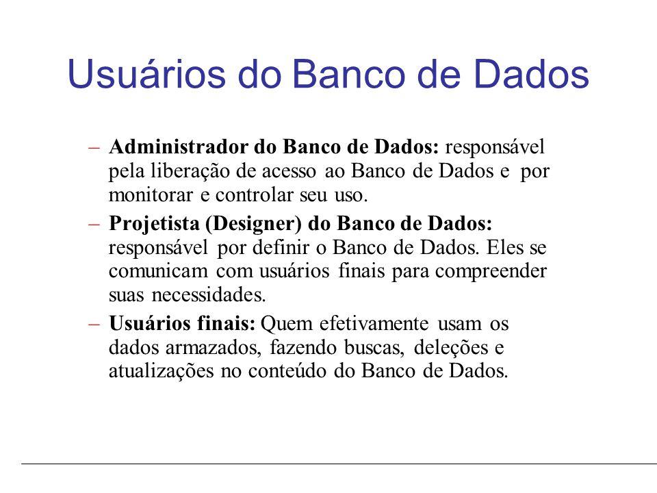 Usuários do Banco de Dados –Administrador do Banco de Dados: responsável pela liberação de acesso ao Banco de Dados e por monitorar e controlar seu uso.
