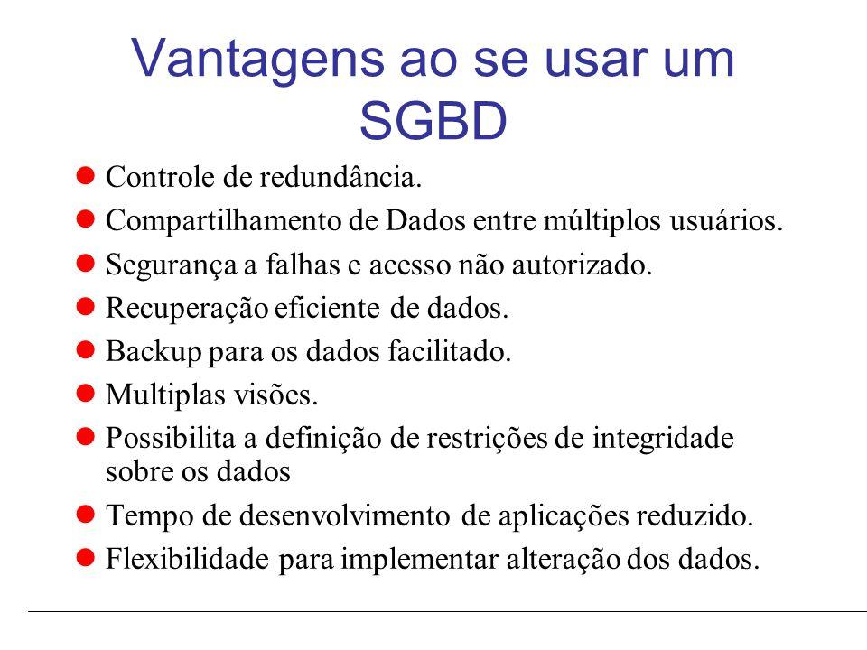 Vantagens ao se usar um SGBD Controle de redundância.