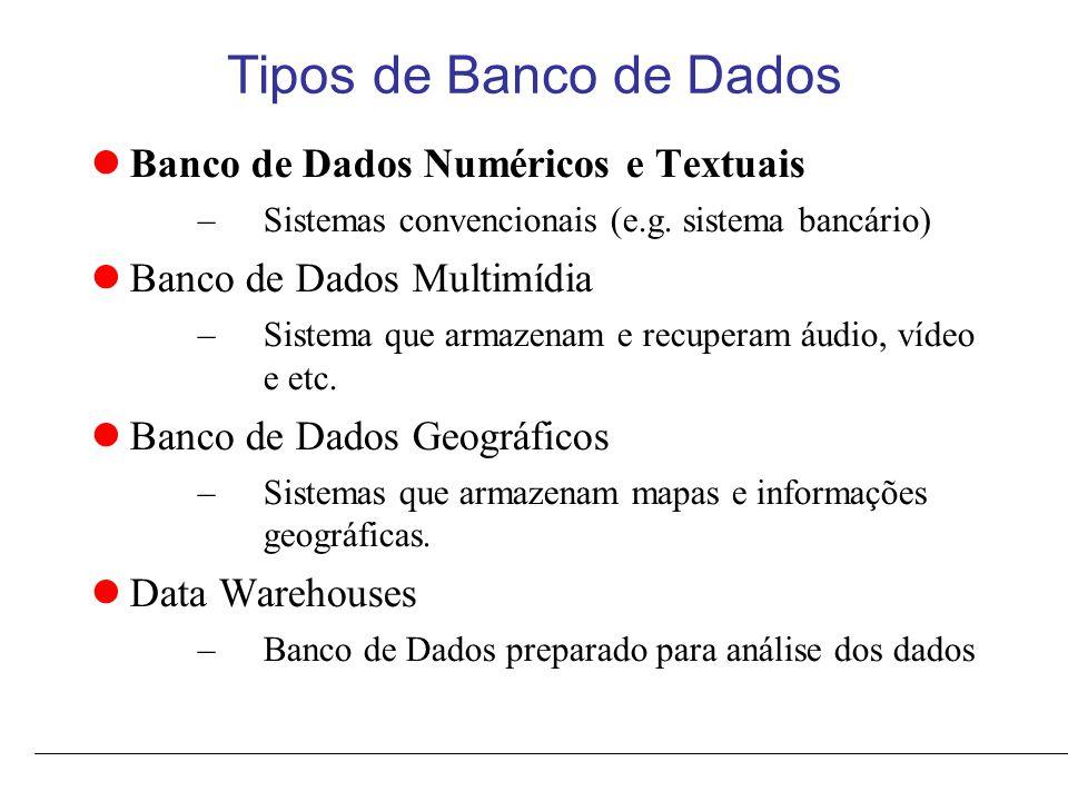 Tipos de Banco de Dados Banco de Dados Numéricos e Textuais –Sistemas convencionais (e.g.
