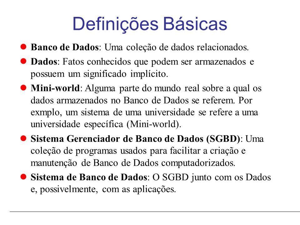 Funcionalidades Típicas de um SGBD Suporte para carregar o banco de dados em meio de armazanamentos secundário.