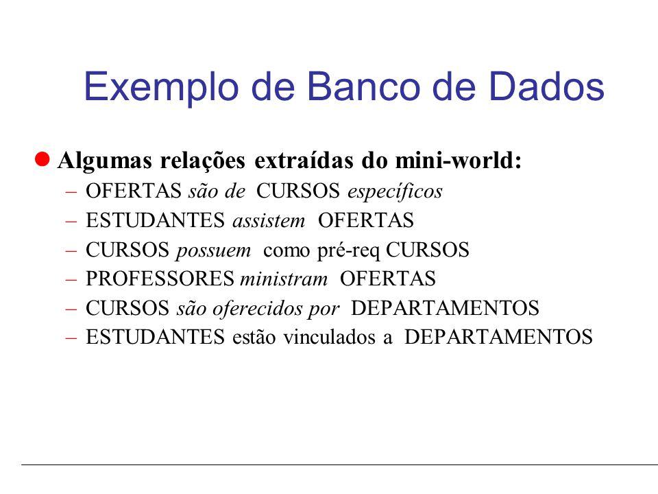 Características de um SGBD Auto-descrição de um SGBD: O catálogo do SGBD armazena a descrição do Banco de Dados.
