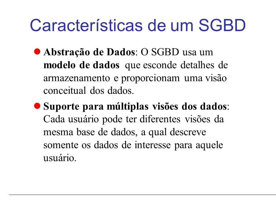 Características de um SGBD Compartilhamento de dados e processamento de transações de multiplos usuários: Possibilita que um conjunto de usuários recuperem e atualizem conteúdo do banco de dados concorrentemente, mantendo a consistência.
