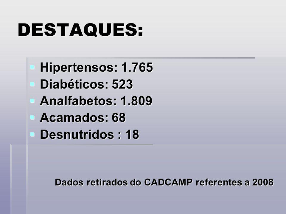 DESTAQUES:  Hipertensos: 1.765  Diabéticos: 523  Analfabetos: 1.809  Acamados: 68  Desnutridos : 18 Dados retirados do CADCAMP referentes a 2008