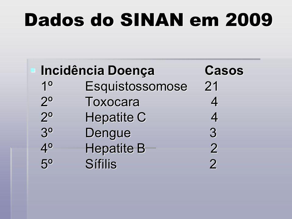 Dados do SINAN em 2009  Incidência Doença Casos 1º Esquistossomose 21 2º Toxocara 4 2º Hepatite C 4 3º Dengue 3 4º Hepatite B 2 5º Sífilis 2