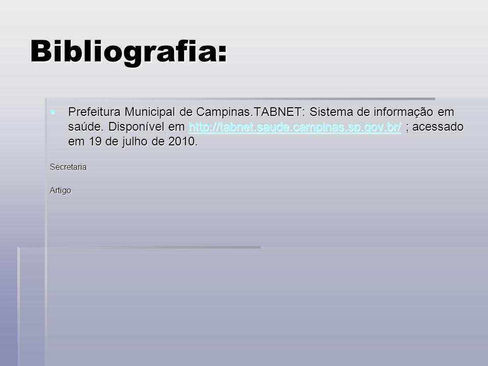 Bibliografia:  Prefeitura Municipal de Campinas.TABNET: Sistema de informação em saúde.