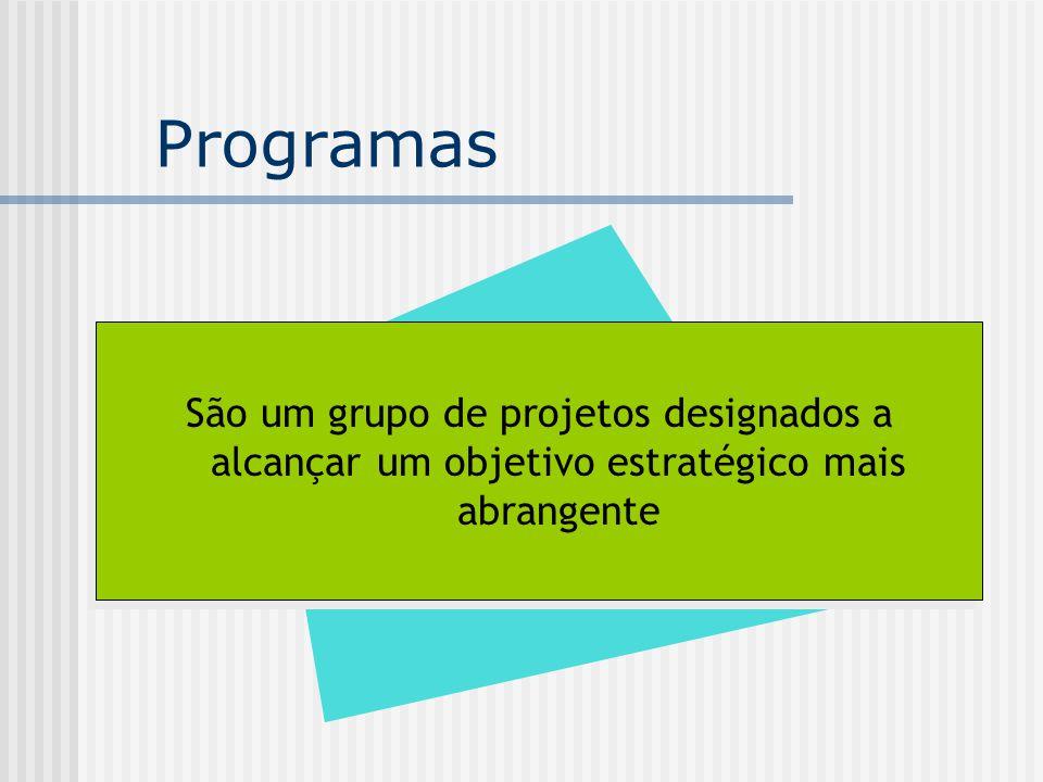 Programas São um grupo de projetos designados a alcançar um objetivo estratégico mais abrangente