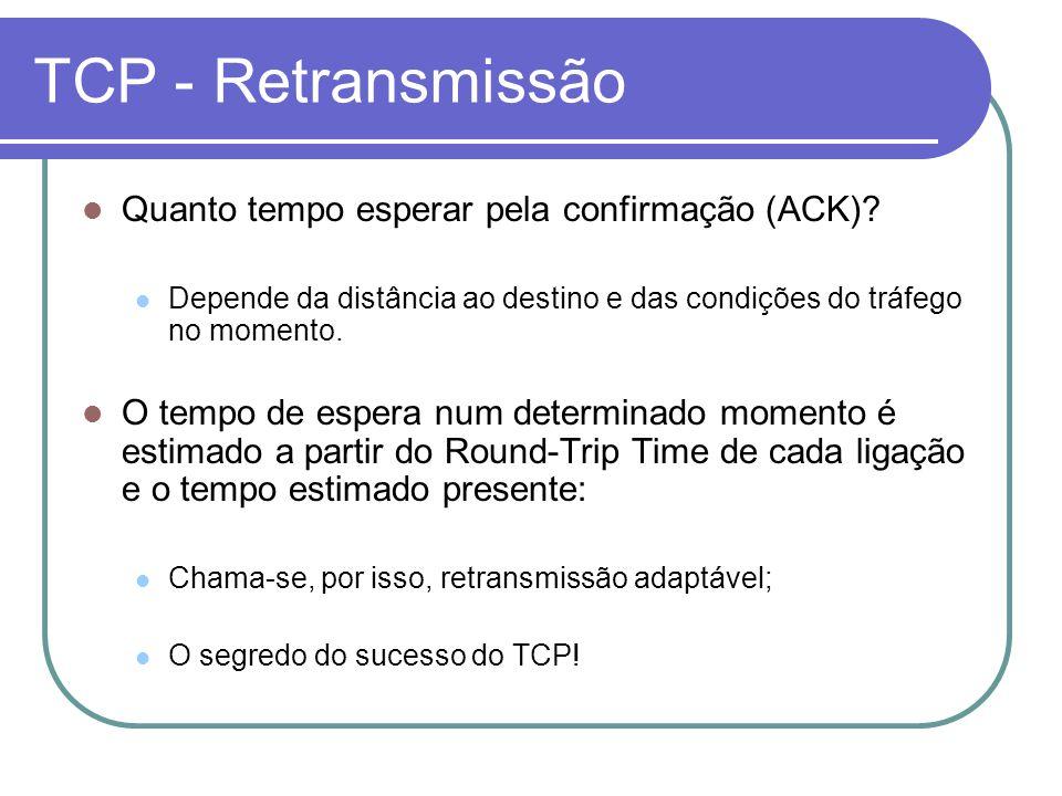 TCP - Retransmissão Quanto tempo esperar pela confirmação (ACK).