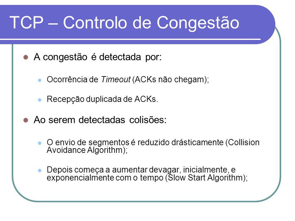 TCP – Controlo de Congestão A congestão é detectada por: Ocorrência de Timeout (ACKs não chegam); Recepção duplicada de ACKs.