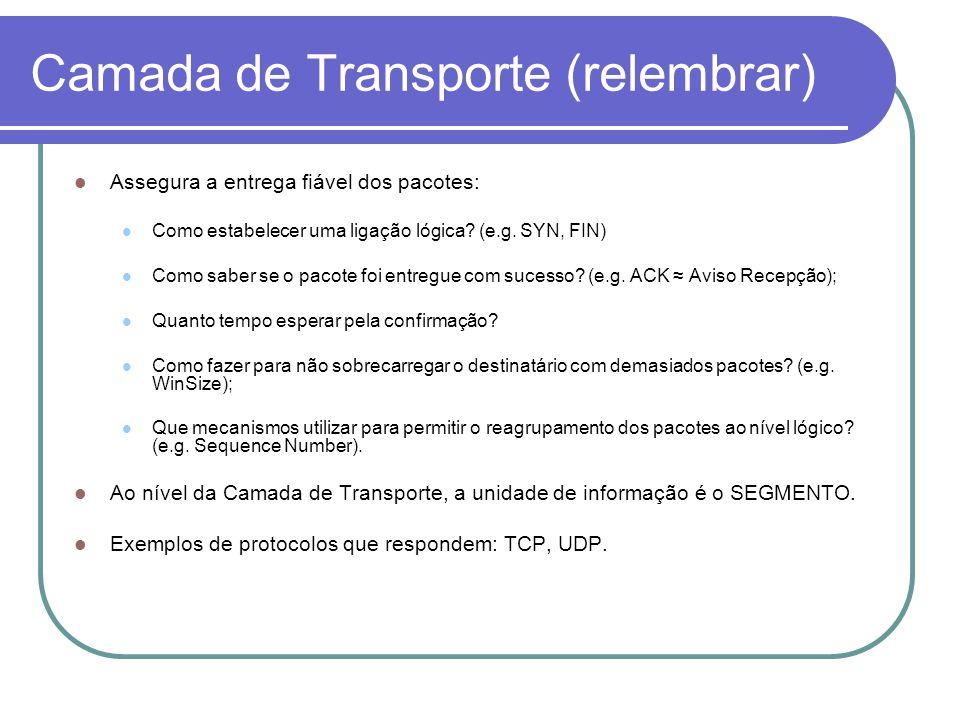 Camada de Transporte (relembrar) Assegura a entrega fiável dos pacotes: Como estabelecer uma ligação lógica.