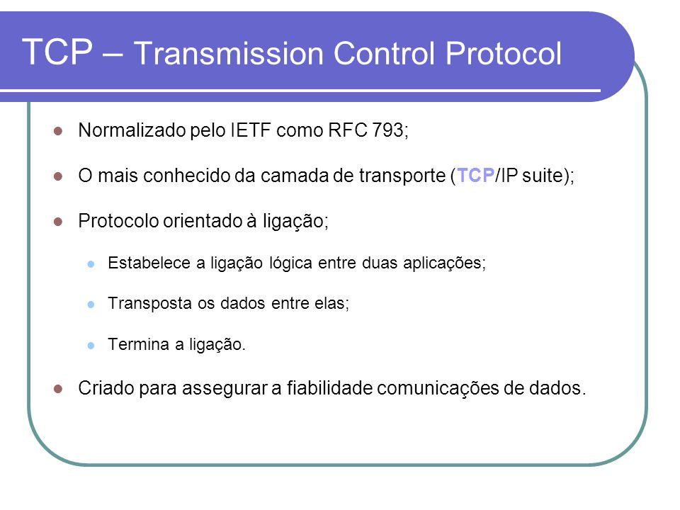 TCP – Transmission Control Protocol Normalizado pelo IETF como RFC 793; O mais conhecido da camada de transporte (TCP/IP suite); Protocolo orientado à ligação; Estabelece a ligação lógica entre duas aplicações; Transposta os dados entre elas; Termina a ligação.