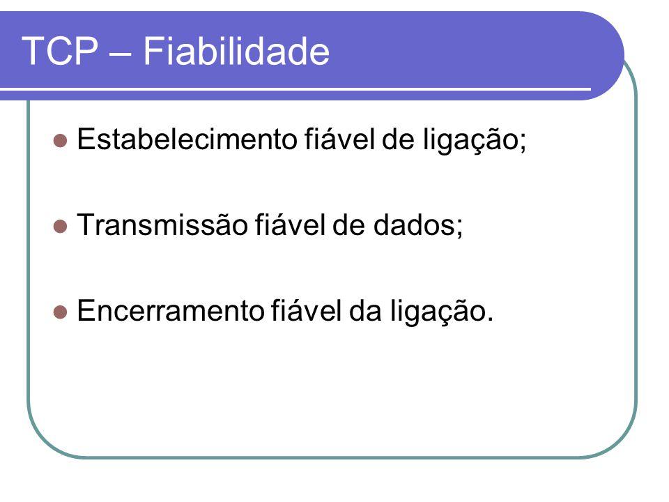 TCP – Fiabilidade Estabelecimento fiável de ligação; Transmissão fiável de dados; Encerramento fiável da ligação.