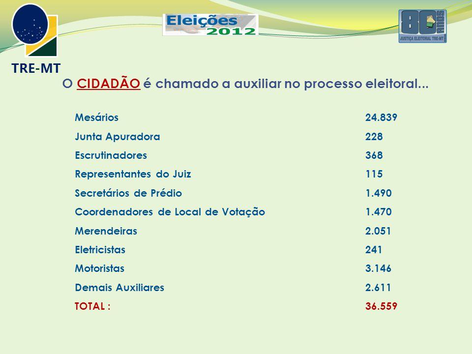 O CIDADÃO é chamado a auxiliar no processo eleitoral... Mesários 24.839 Junta Apuradora 228 Escrutinadores 368 Representantes do Juiz 115 Secretários