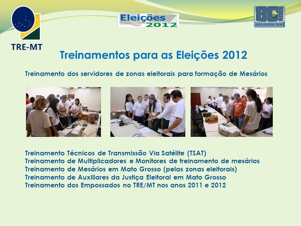 Treinamentos para as Eleições 2012 Treinamento dos servidores de zonas eleitorais para formação de Mesários Treinamento Técnicos de Transmissão Via Satélite (TSAT) Treinamento de Multiplicadores e Monitores de treinamento de mesários Treinamento de Mesários em Mato Grosso (pelas zonas eleitorais) Treinamento de Auxiliares da Justiça Eleitoral em Mato Grosso Treinamento dos Empossados no TRE/MT nos anos 2011 e 2012 TRE-MT