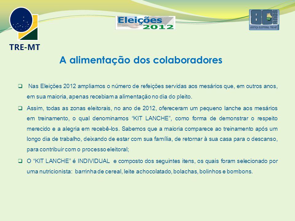 A alimentação dos colaboradores  Nas Eleições 2012 ampliamos o número de refeições servidas aos mesários que, em outros anos, em sua maioria, apenas recebiam a alimentação no dia do pleito.
