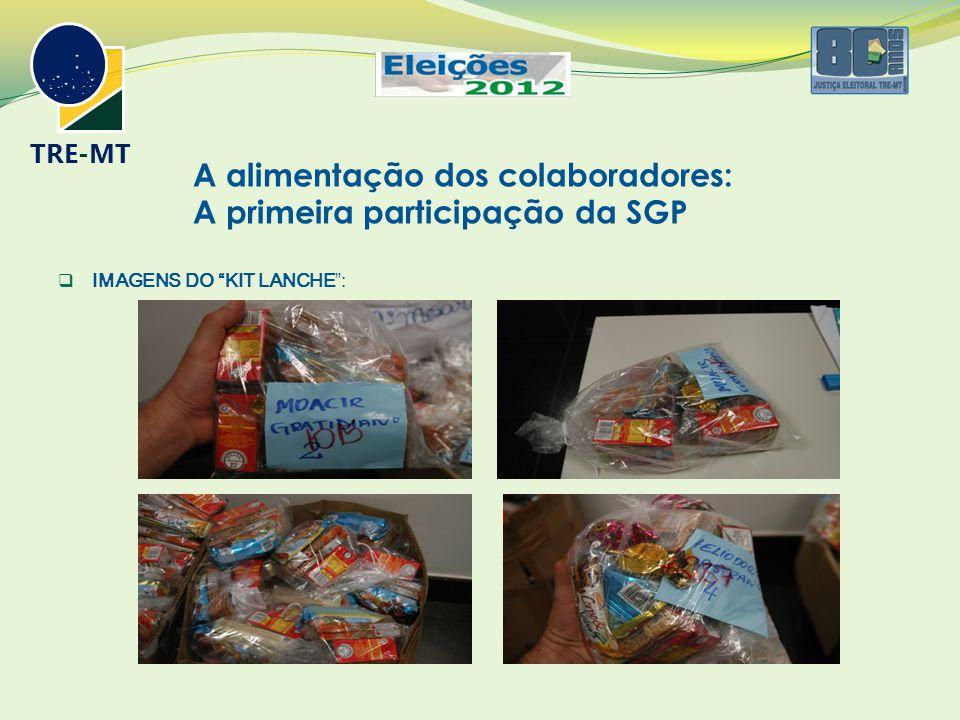 A alimentação dos colaboradores: A primeira participação da SGP  IMAGENS DO KIT LANCHE : TRE-MT
