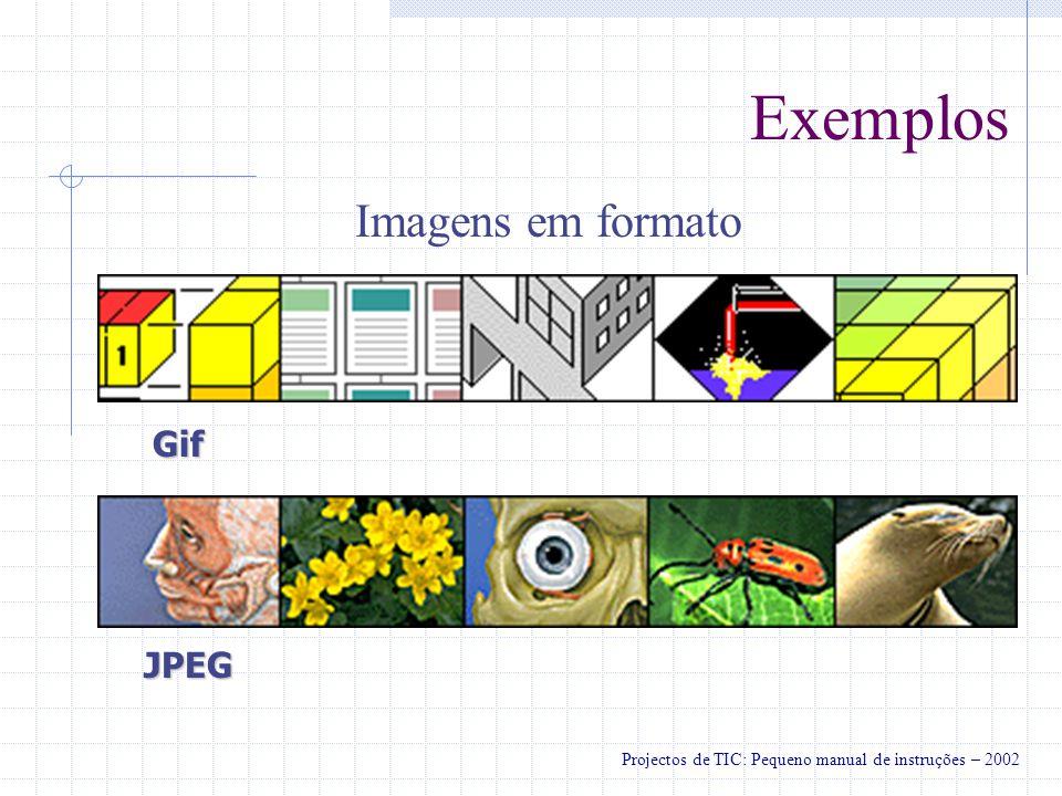 Exemplos Imagens em formato Gif JPEG Projectos de TIC: Pequeno manual de instruções – 2002