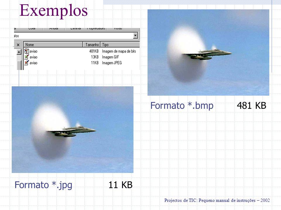 Exemplos Formato *.gif13 KB Nota: Conversão de *.bmp feita a partir do Paint Projectos de TIC: Pequeno manual de instruções – 2002