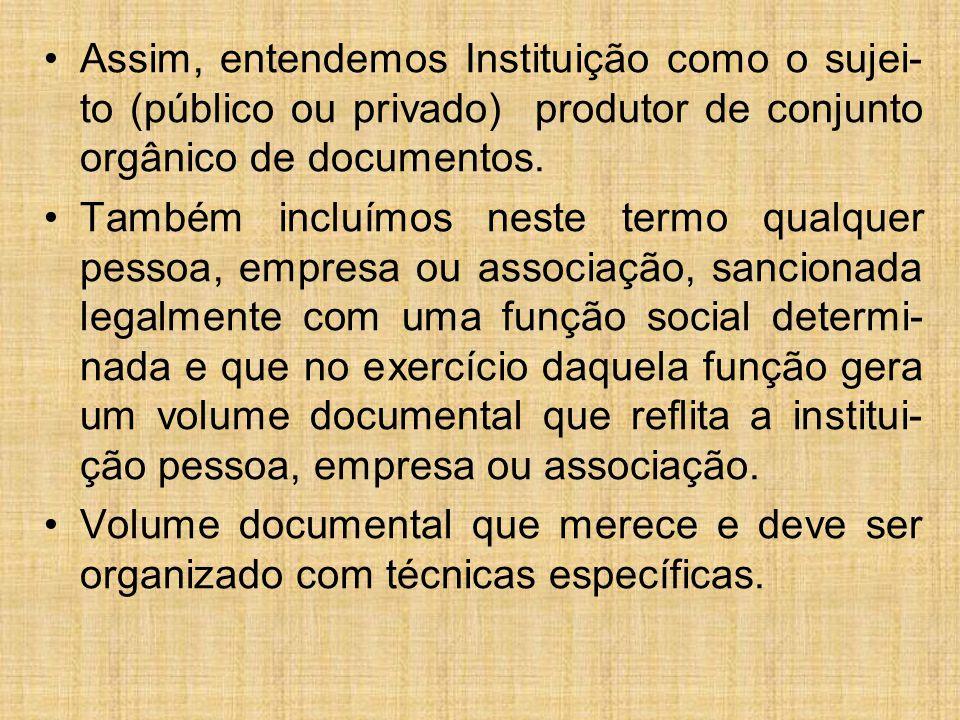 Assim, entendemos Instituição como o sujei- to (público ou privado) produtor de conjunto orgânico de documentos. Também incluímos neste termo qualquer