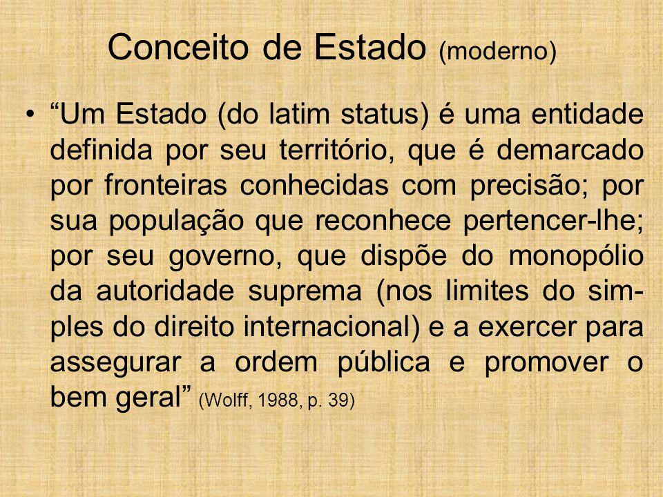 """Conceito de Estado (moderno) """"Um Estado (do latim status) é uma entidade definida por seu território, que é demarcado por fronteiras conhecidas com pr"""