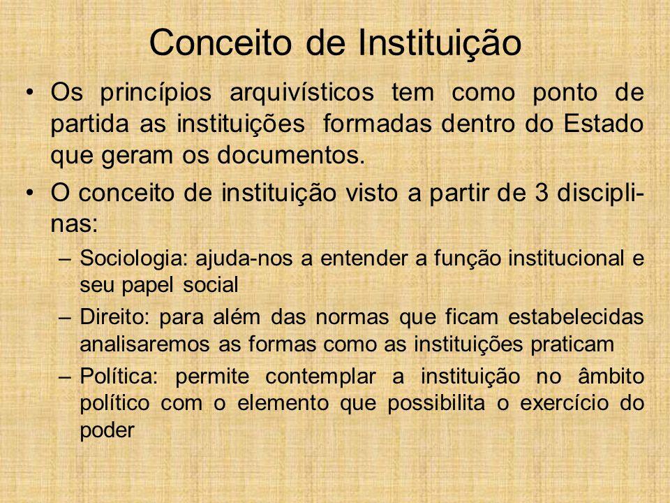 Conceito de Instituição Os princípios arquivísticos tem como ponto de partida as instituições formadas dentro do Estado que geram os documentos. O con