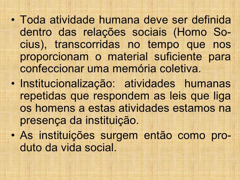 Toda atividade humana deve ser definida dentro das relações sociais (Homo So- cius), transcorridas no tempo que nos proporcionam o material suficiente