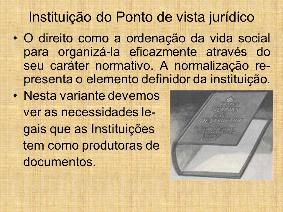 Instituição do Ponto de vista jurídico O direito como a ordenação da vida social para organizá-la eficazmente através do seu caráter normativo. A norm