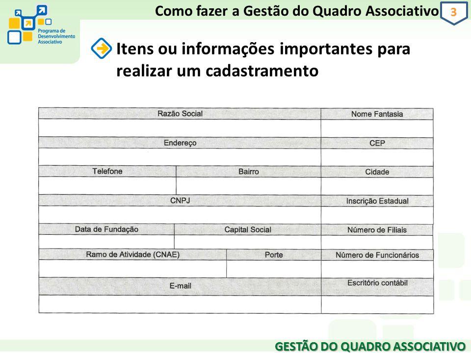 GESTÃO DO QUADRO ASSOCIATIVO 3 Itens ou informações importantes para realizar um cadastramento Como fazer a Gestão do Quadro Associativo