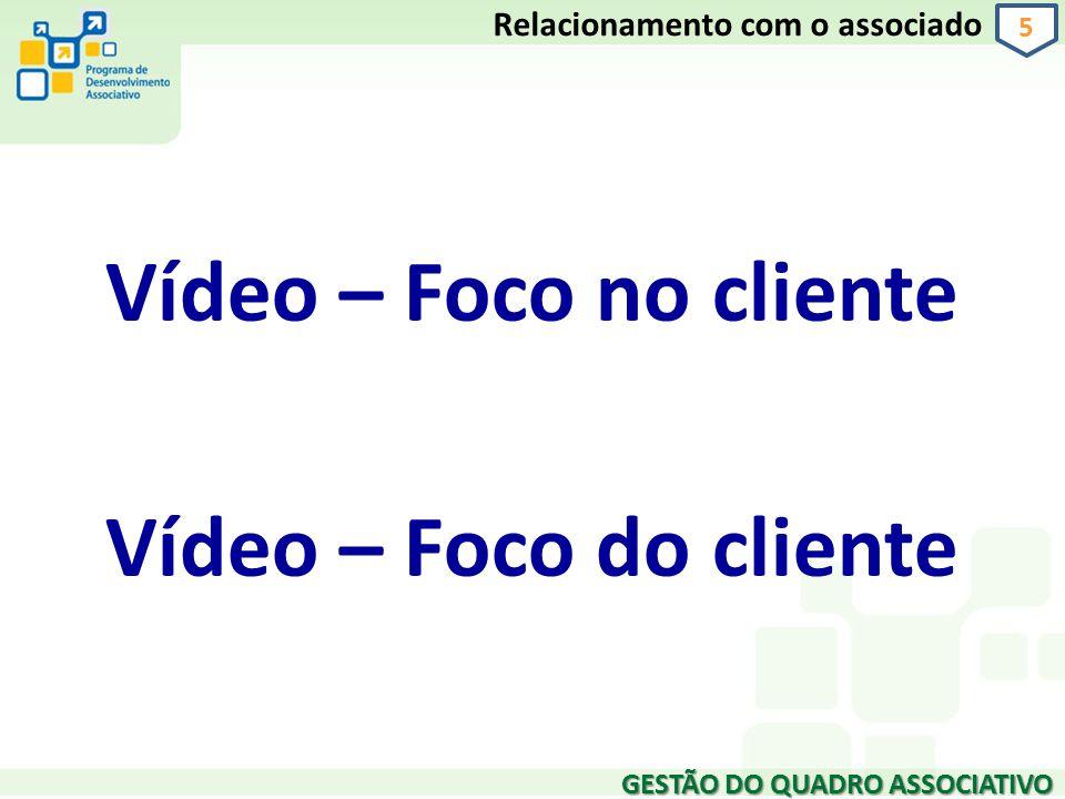 Vídeo – Foco no cliente Vídeo – Foco do cliente GESTÃO DO QUADRO ASSOCIATIVO 5 Relacionamento com o associado