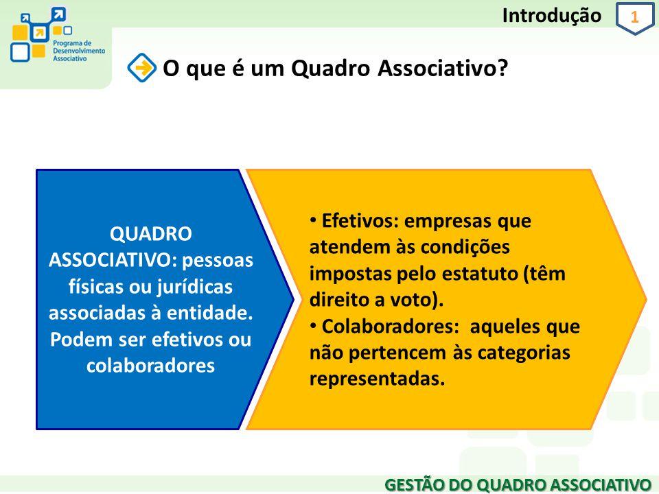 GESTÃO DO QUADRO ASSOCIATIVO 1 Introdução O que é um Quadro Associativo? QUADRO ASSOCIATIVO: pessoas físicas ou jurídicas associadas à entidade. Podem