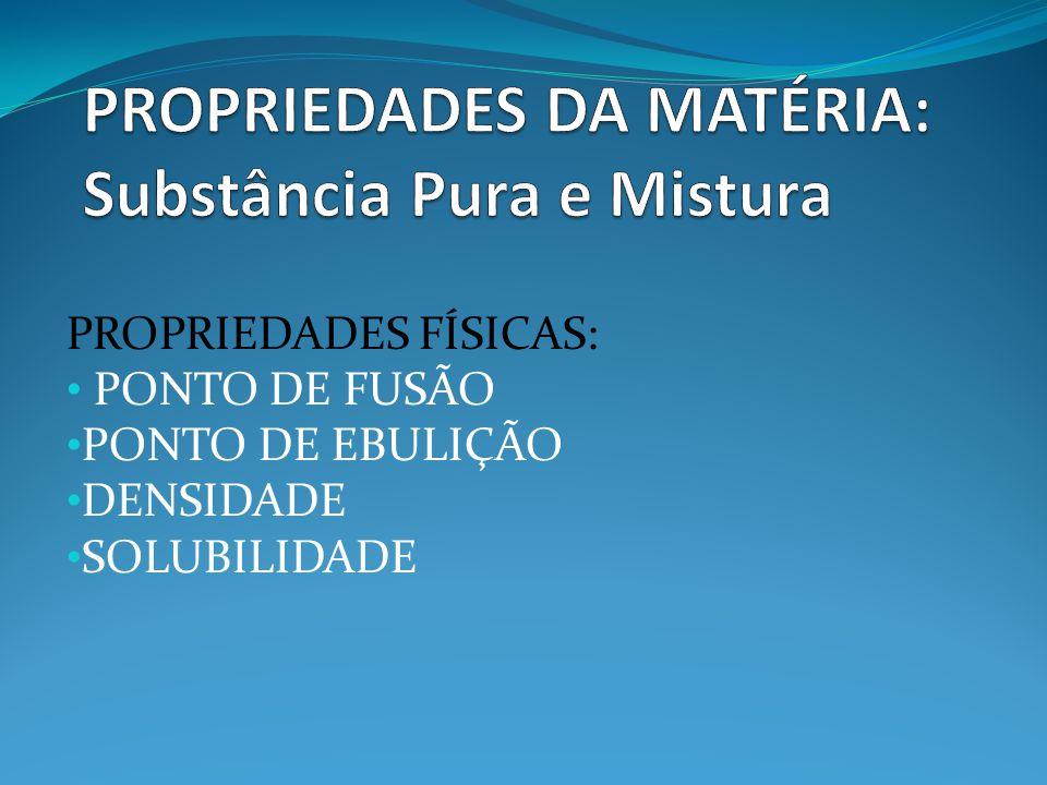 PROPRIEDADES FÍSICAS: PONTO DE FUSÃO PONTO DE EBULIÇÃO DENSIDADE SOLUBILIDADE