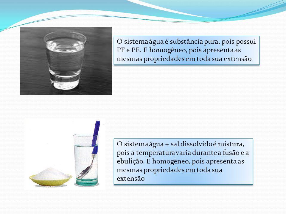 O sistema água é substância pura, pois possui PF e PE. É homogêneo, pois apresenta as mesmas propriedades em toda sua extensão O sistema água + sal di