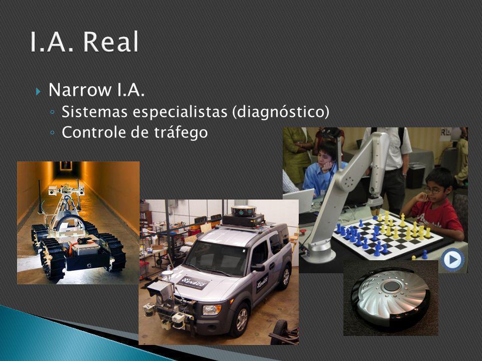  Narrow I.A. ◦ Sistemas especialistas (diagnóstico) ◦ Controle de tráfego