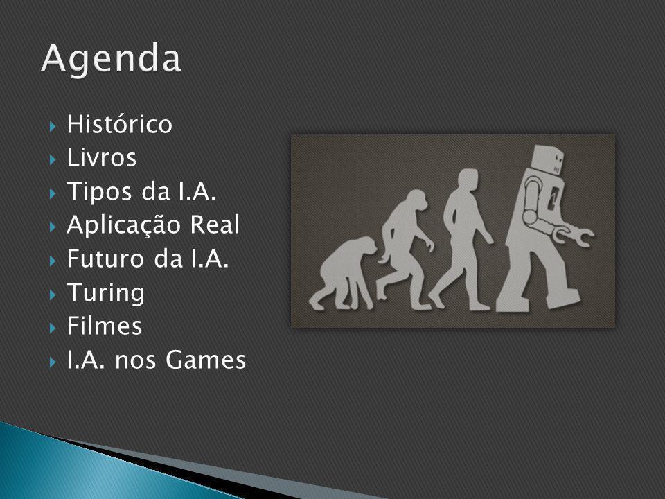  Histórico  Livros  Tipos da I.A.  Aplicação Real  Futuro da I.A.