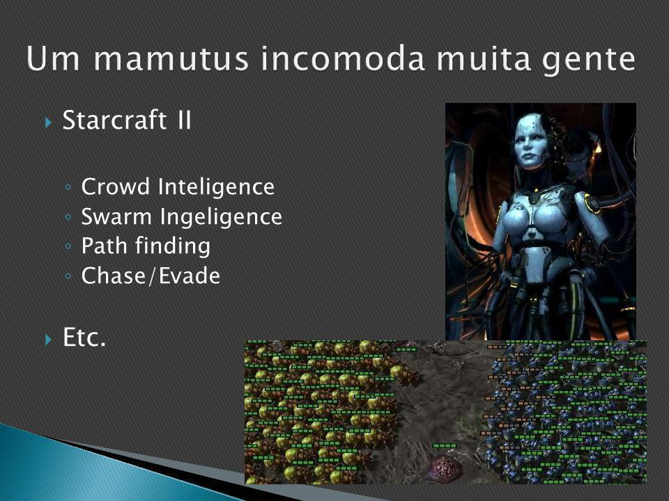  Starcraft II ◦ Crowd Inteligence ◦ Swarm Ingeligence ◦ Path finding ◦ Chase/Evade  Etc.