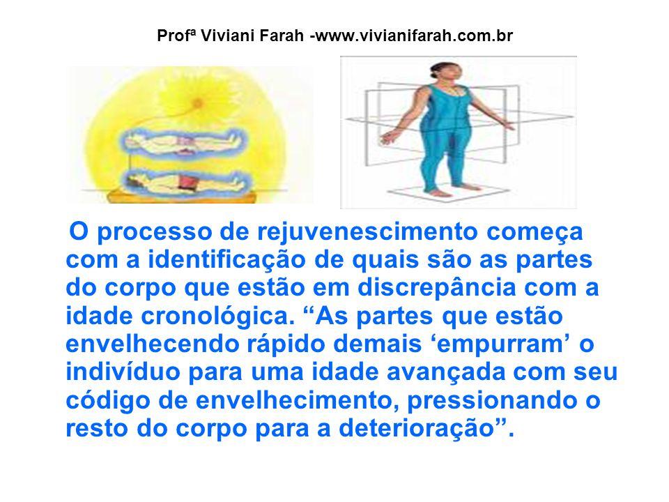 Profª Viviani Farah -www.vivianifarah.com.br O processo de rejuvenescimento começa com a identificação de quais são as partes do corpo que estão em discrepância com a idade cronológica.