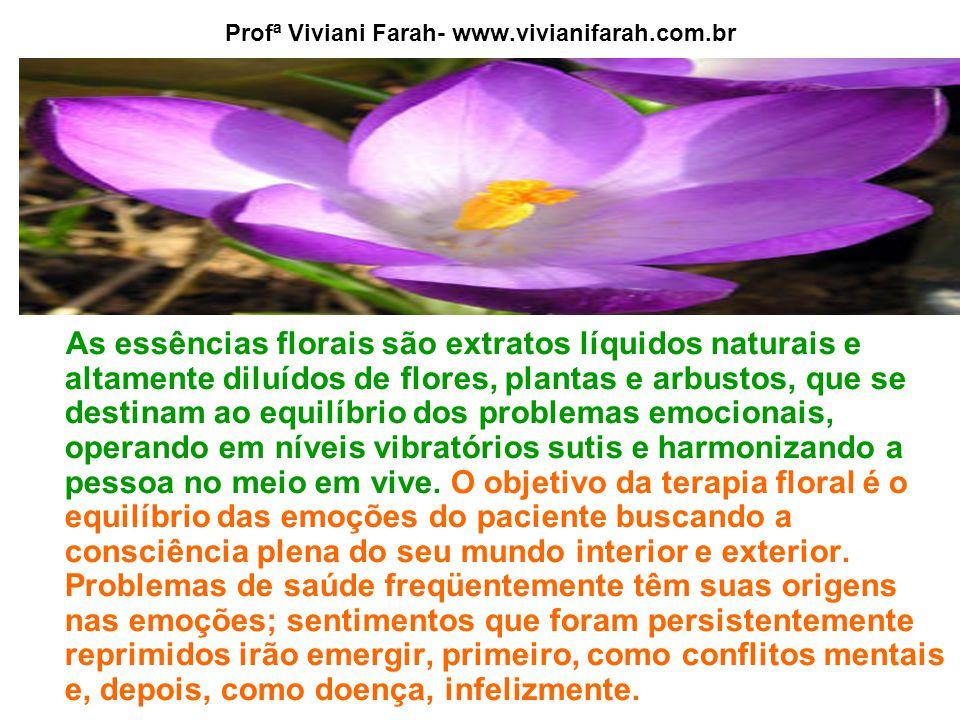 Profª Viviani Farah- www.vivianifarah.com.br As essências florais são extratos líquidos naturais e altamente diluídos de flores, plantas e arbustos, que se destinam ao equilíbrio dos problemas emocionais, operando em níveis vibratórios sutis e harmonizando a pessoa no meio em vive.