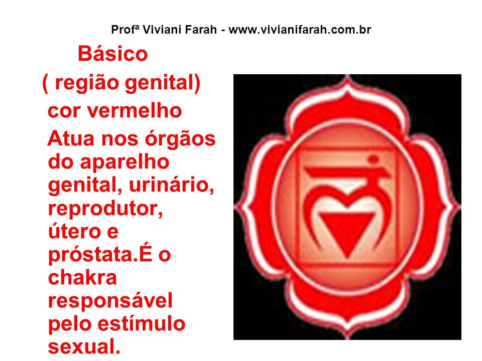Profª Viviani Farah - www.vivianifarah.com.br Básico ( região genital) cor vermelho Atua nos órgãos do aparelho genital, urinário, reprodutor, útero e próstata.É o chakra responsável pelo estímulo sexual.