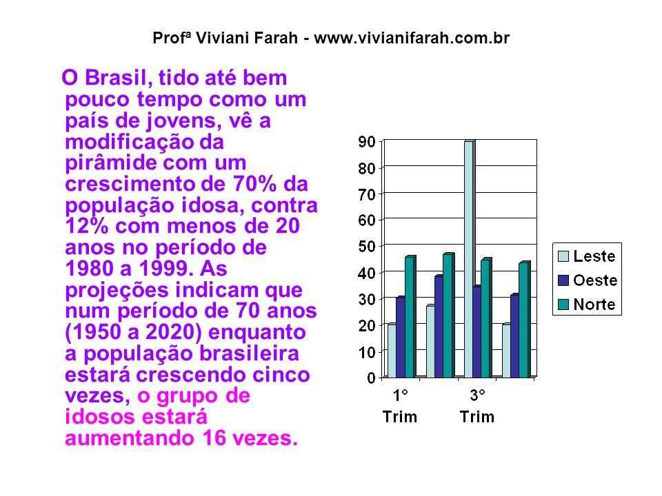 Profª Viviani Farah - www.vivianifarah.com.br O Brasil, tido até bem pouco tempo como um país de jovens, vê a modificação da pirâmide com um crescimento de 70% da população idosa, contra 12% com menos de 20 anos no período de 1980 a 1999.