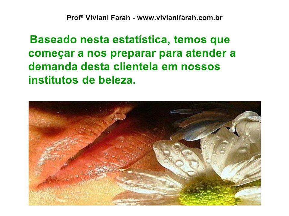 Profª Viviani Farah - www.vivianifarah.com.br Baseado nesta estatística, temos que começar a nos preparar para atender a demanda desta clientela em nossos institutos de beleza.