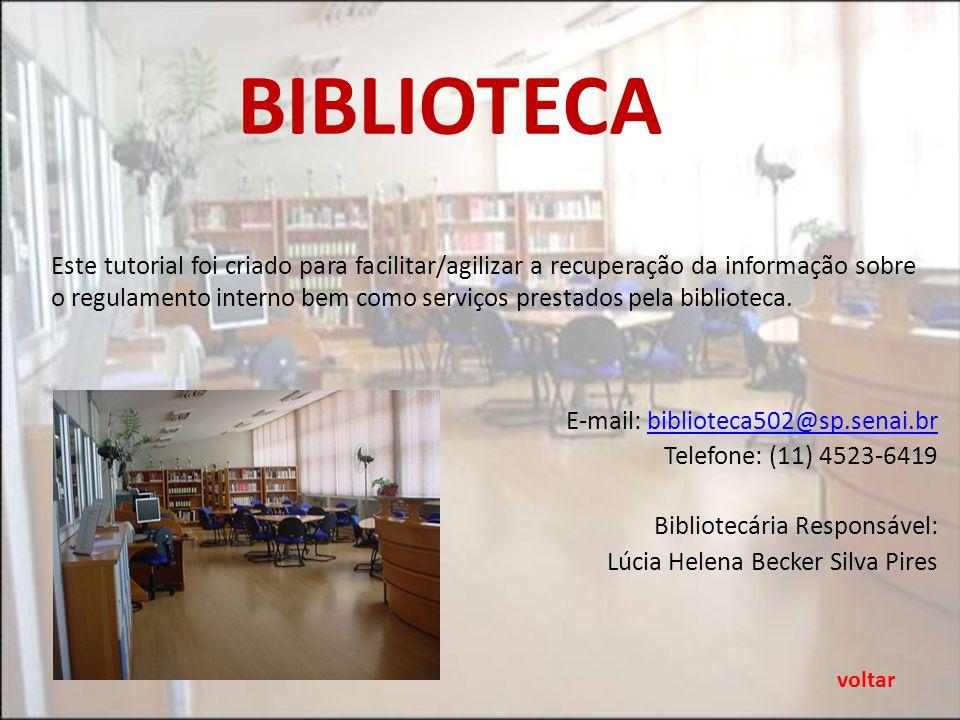 FINALIDADE A biblioteca da Escola SENAI Conde Alexandre Siciliano é destinada ao público interno e externo, sendo o empréstimo privativo aos alunos dos cursos regulares (CAI e CT), corpo docente e funcionários da Instituição.