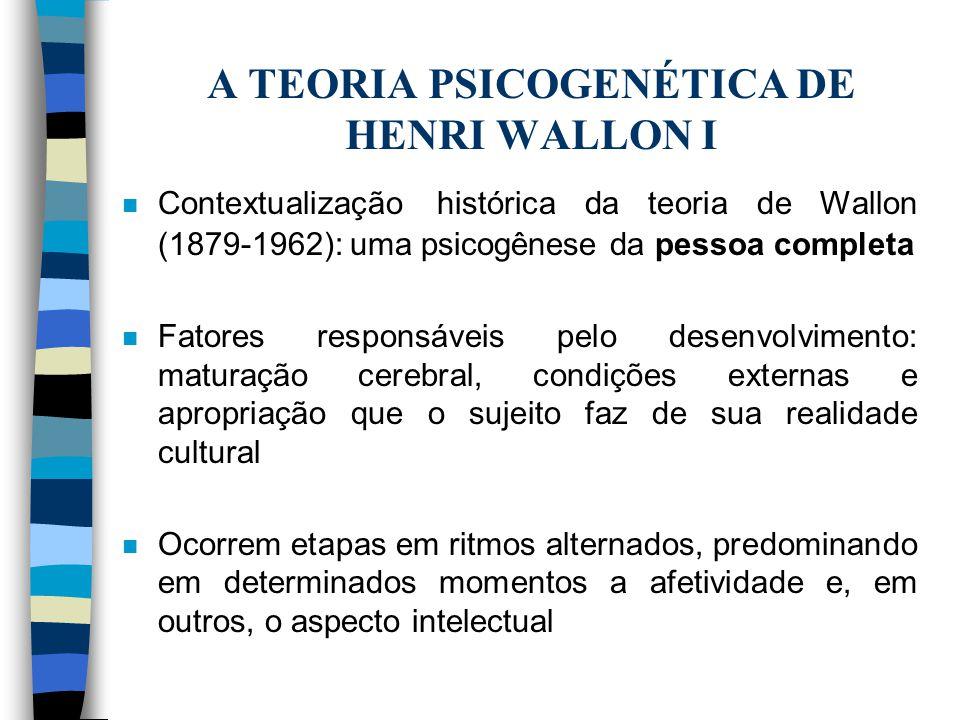 A TEORIA PSICOGENÉTICA DE HENRI WALLON I n Contextualização histórica da teoria de Wallon (1879-1962): uma psicogênese da pessoa completa n Fatores re