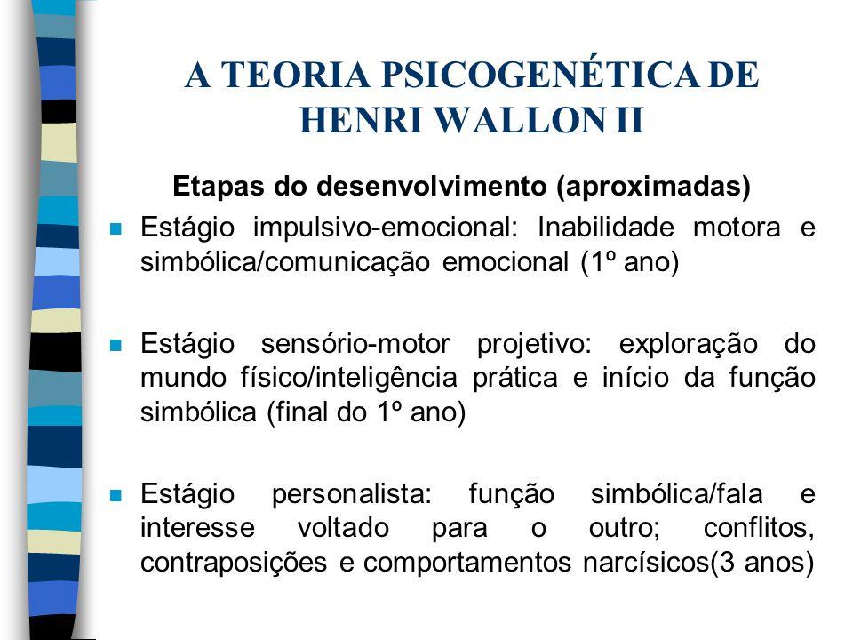 A TEORIA PSICOGENÉTICA DE HENRI WALLON II Etapas do desenvolvimento (aproximadas) n Estágio impulsivo-emocional: Inabilidade motora e simbólica/comuni