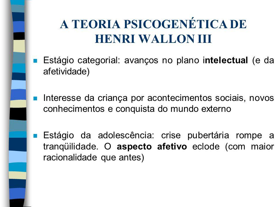 A TEORIA PSICOGENÉTICA DE HENRI WALLON III n Estágio categorial: avanços no plano intelectual (e da afetividade) n Interesse da criança por acontecime