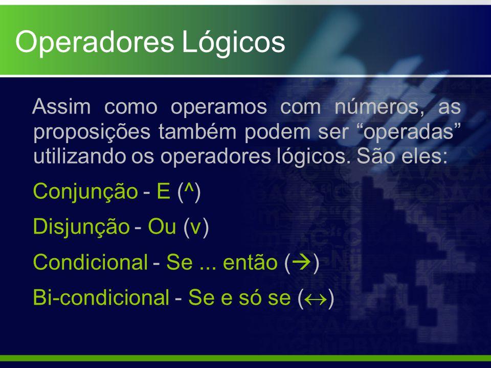 """Operadores Lógicos Assim como operamos com números, as proposições também podem ser """"operadas"""" utilizando os operadores lógicos. São eles: Conjunção -"""
