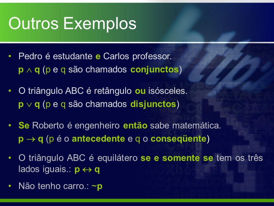 Outros Exemplos Pedro é estudante e Carlos professor. p  q (p e q são chamados conjunctos) O triângulo ABC é retângulo ou isósceles. p  q (p e q são